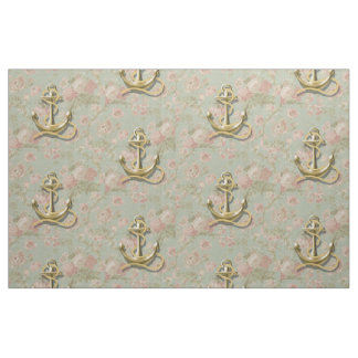 Shabby Chic floral girly nautical anchor Fabric