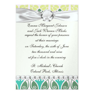 shabby chic floral ornate damask custom invitation