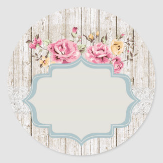 Shabby Chic Floral Rustic Wood & Vintage Lace Classic Round Sticker