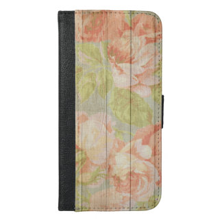 Shabby Chic Floral Wood Grain iPhone 6/6s Plus Wallet Case