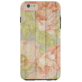 Shabby Chic Floral Wood Grain Tough iPhone 6 Plus Case