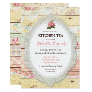 Shabby Chic Floral Wood Kitchen Tea Invitation