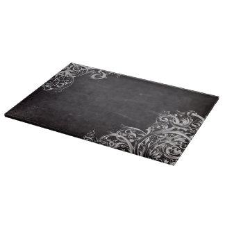 shabby chic flourish swirls chalkboard monogram cutting board