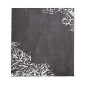 shabby chic flourish swirls chalkboard monogram notepad