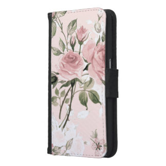 Shabby chic, french chic, vintage,floral,rustic,pi samsung galaxy s6 wallet case