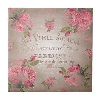 Shabby Chic french vintage roses pink floral rose Tile