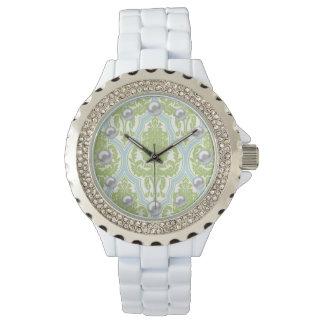 Shabby Chic Green & Blue Damask & Faux Pearls Wrist Watch