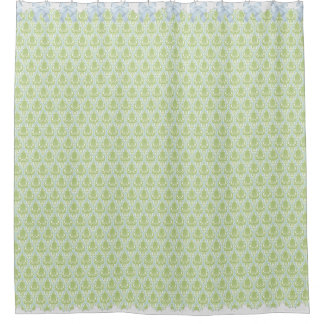 Shabby Chic Green & Blue Damask w Bows & Lace Shower Curtain