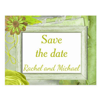Shabby Chic Green Save the Date Postcard