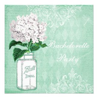 Shabby Chic Jar & Hydrangea Bachelorette Party Personalized Invitation