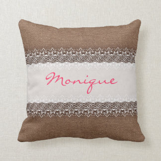 Shabby Chic Lace on Rustic Burlap - Pink Monogram Throw Pillow