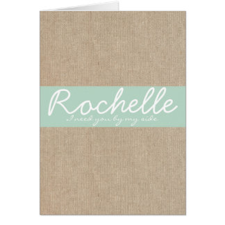 Shabby Chic Light Mint Burlap Bridesmaid Request Card