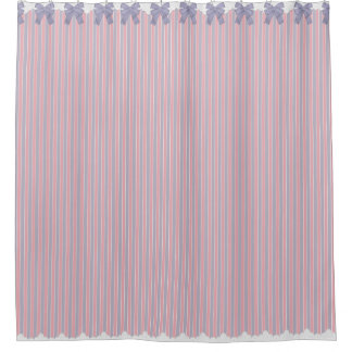 Shabby Chic Lilac & Pink Stripes w Bows & Lace Shower Curtain