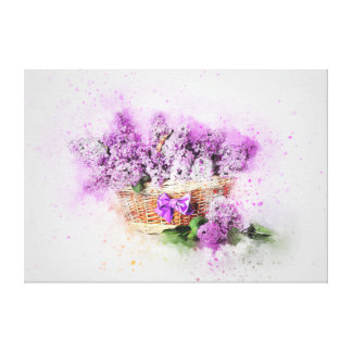 Shabby Chic Lilacs In Basket Watercolour Canvas Print