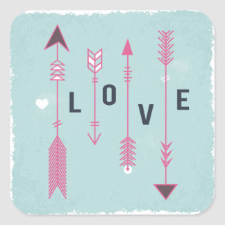 Shabby Chic Love Arrows Blue And Pink Vintage Square Sticker