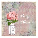 Shabby Chic Mason Jar & Hydrangea Baby Shower Personalized Announcements