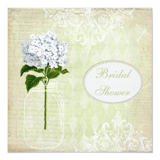 Shabby Chic Mason Jar & Hydrangea Bridal Shower 13 Cm X 13 Cm Square Invitation Card