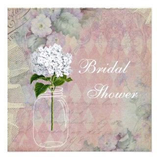 Shabby Chic Mason Jar Hydrangea Bridal Shower Custom Invites