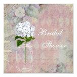 Shabby Chic Mason Jar & Hydrangea Bridal Shower 13 Cm X 13 Cm Square Invitation Card