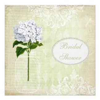 Shabby Chic Mason Jar & Hydrangea Bridal Shower Invites