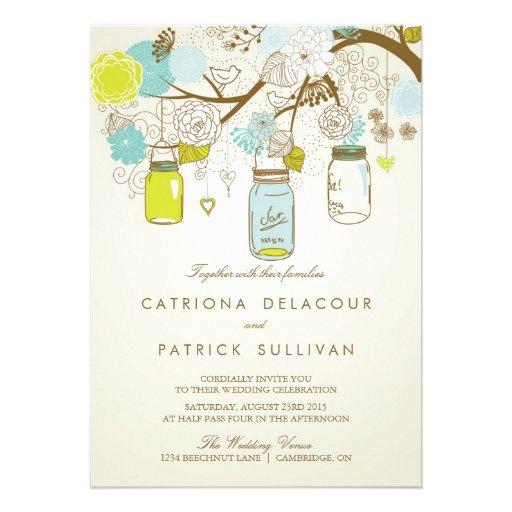 SHABBY CHIC MASON JARS SPRING WEDDING INVITATION