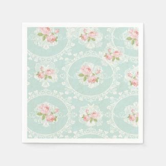 Shabby Chic Mint & Pink Cocktail Napkins Paper Napkins