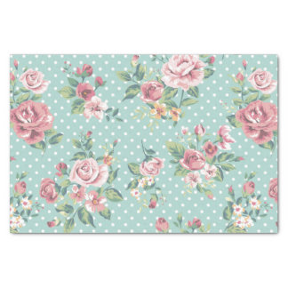 "shabby chic mint polka dot pink white vintage girl 10"" x 15"" tissue paper"