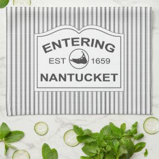 Shabby Chic Nantucket Sign in Black & White Stripe Tea Towel