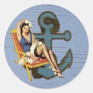 Shabby Chic Nautical Anchor Pin Up Girl Round Sticker