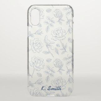 Shabby Chic Navy Cabbage Roses Flower Pattern iPhone X Case