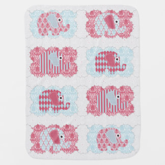 Shabby Chic Nursery Elephants Damask Stripes Baby Blanket