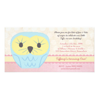 Shabby Chic Owl 1st Birthday Party Invite Customized Photo Card