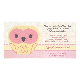 Shabby Chic Owl 1st Birthday Party Invite Photo Greeting Card