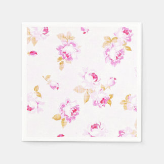 Shabby Chic Pale Pink Rose Paper Napkin