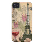 Shabby Chic Paris Eiffel Tower & Red Wine iPhone 4 Covers
