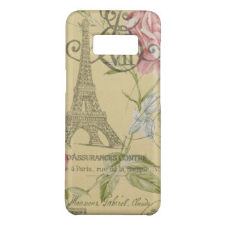 shabby chic paris eiffel tower yellow floral Case-Mate samsung galaxy s8 case