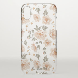 Shabby Chic Peach Cabbage Roses Flower Pattern iPhone X Case