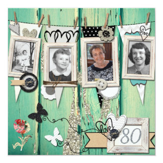 Shabby Chic Photo 80th Birthday Party Invitation