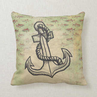 Shabby-Chic Pillow with anchor and fish theme