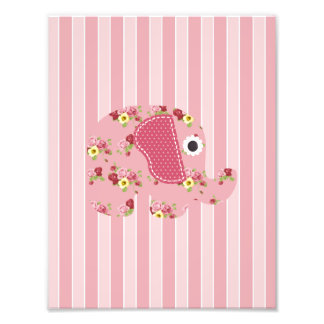 Shabby Chic Pink Floral Elephant, Pink Stripes Photographic Print