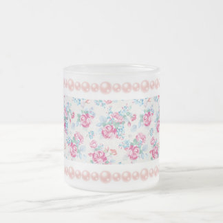 shabby chic,pink floral,trendy,girly,elegant,cute, frosted glass mug