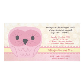 Shabby Chic Pink Owl 1st Birthday Party Invite Photo Card Template