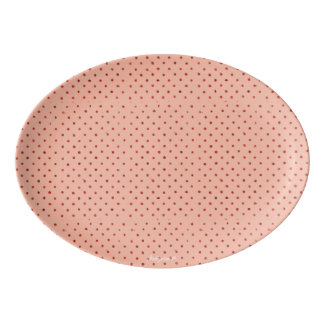 Shabby Chic Pink Polka Dot Porcelain Serving Platter