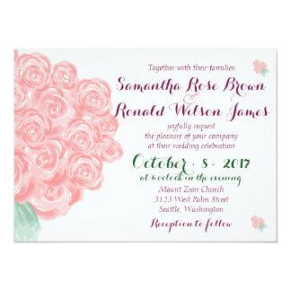Shabby Chic Pink Rose Bouquet Wedding Invitation