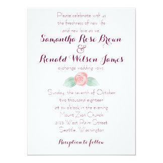 Shabby Chic Pink Rose Floral Wedding Invitation