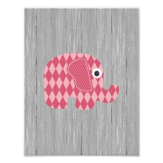 Shabby Chic Pink Rose Harl Elephant on Gray Wood Photograph