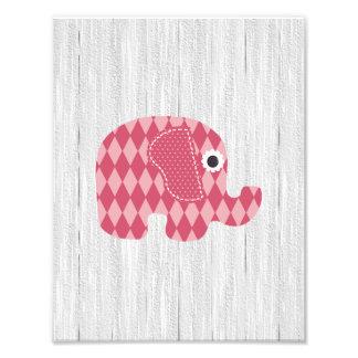 Shabby Chic Pink Rose Harl Elephant on White Wood Photographic Print