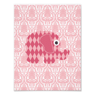 Shabby Chic Pink Rose Harlequin Elephant on Pink Photographic Print