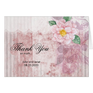 Shabby Chic Pink Rose Wedding - Thank You Card