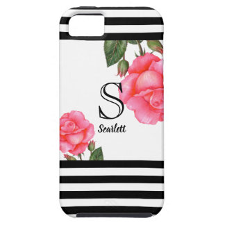 Shabby Chic Pink Roses Black and White Stripes Tough iPhone 5 Case